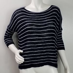 Lara Knit Top Size M Striped Semi Sheer 3/4 Sleeve